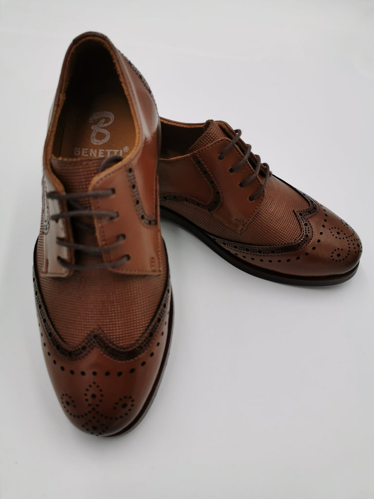 George Cognac Boys Brogue Shoe By Benetti