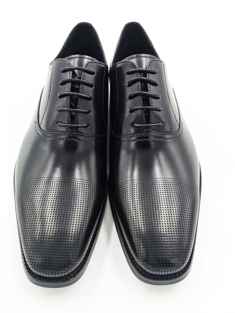 Bay Black Capped Oxfords Calf Leather Shoe