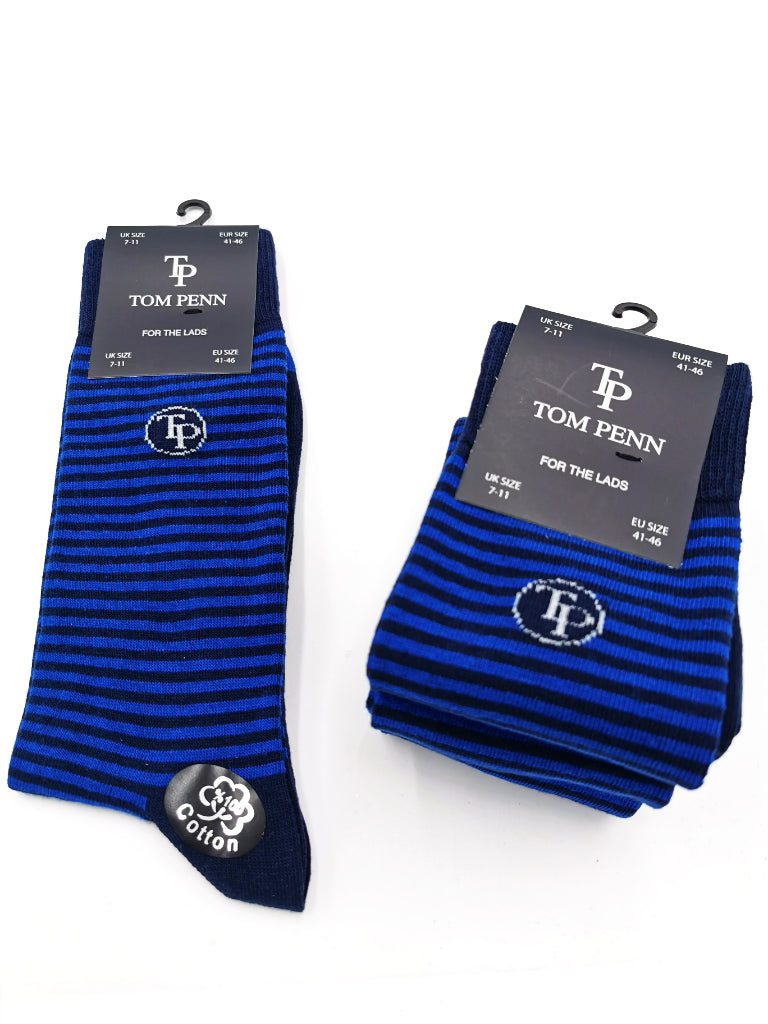 Tom Penn Navy/Royal Stripe Mne's Sock. TPS003
