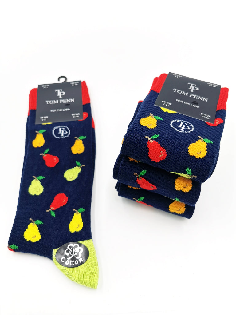 Tom Penn navy sock with pear details. TPS017