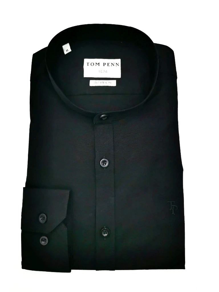Tom Penn Slim fit grandfather shirt .TP763 Black