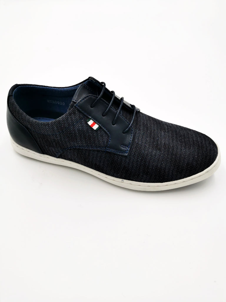 Men's Navy Lace Up Canvas Shoe