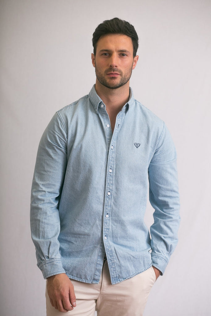 Light Wash Slim Fit Denim Shirt