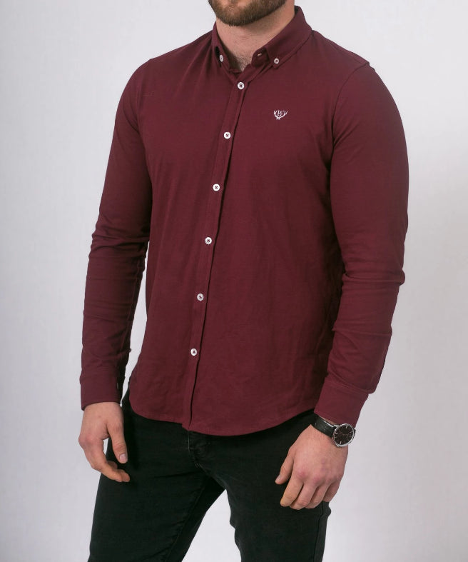 Slim Fit Burgundy Pique Long Sleeve Shirt