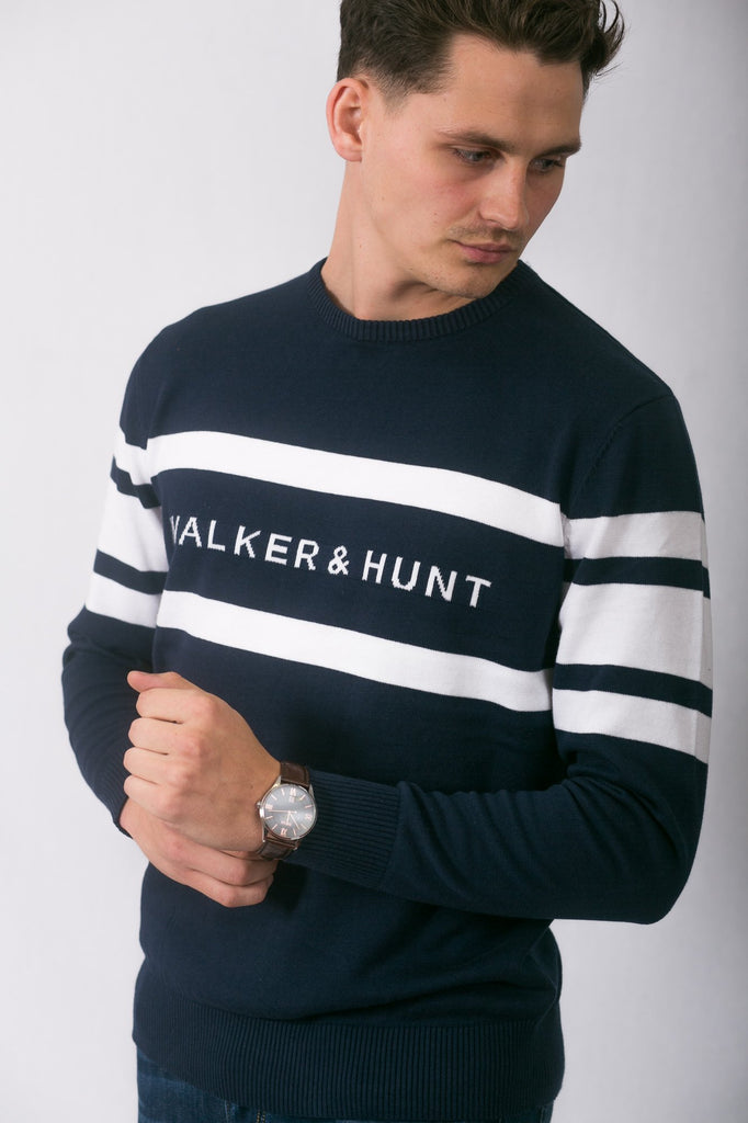 cable-knitted navy block stripe jumper