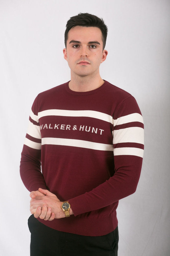 Block Stripe Burgundy and Off White Crew Neck Sweater