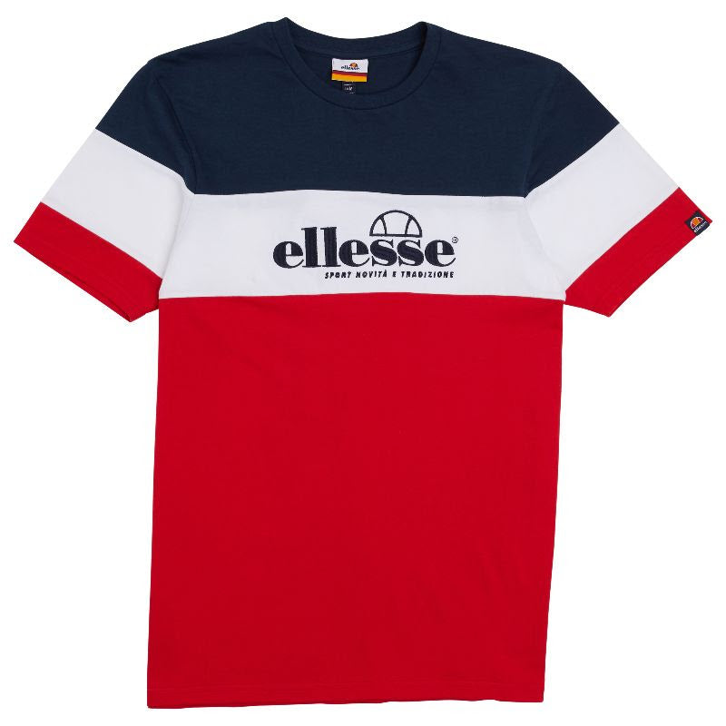 Ellesse Short Sleeve Navy Red and White Nossa Panel tee.
