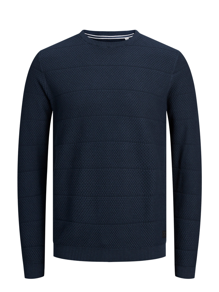 Men's Snow Crew Neck Navy Knit