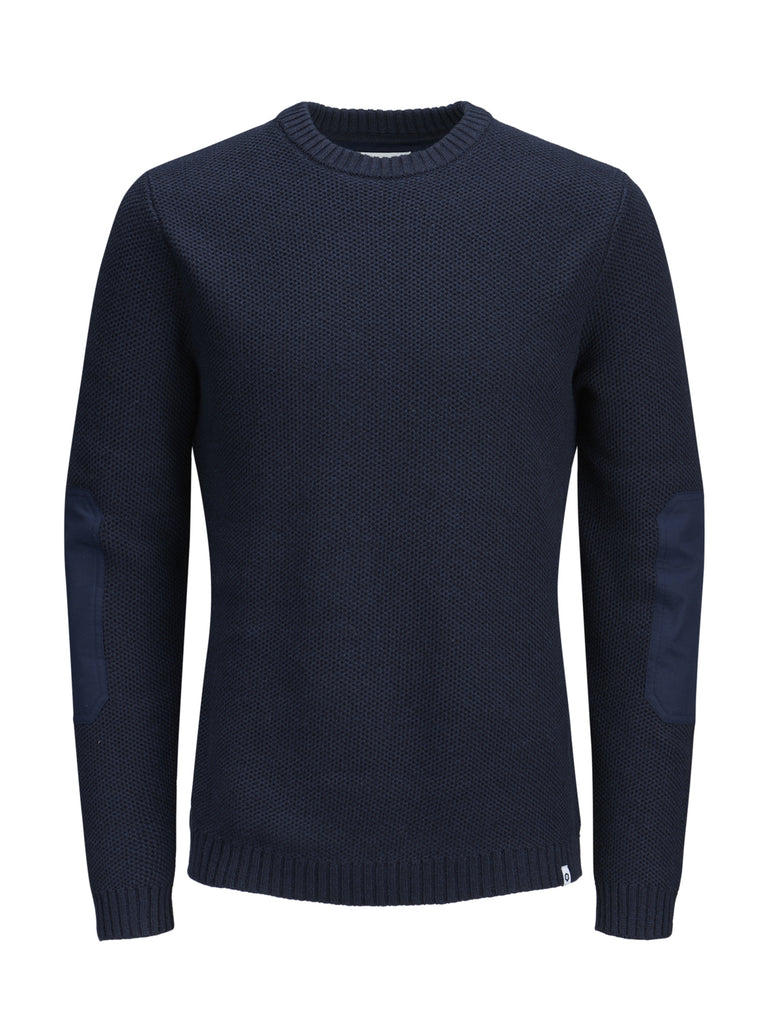JCOTulsa Crew Neck Black Navy Knit by Jack & Jones.