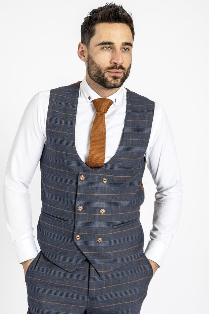 Jenson Marine Check Double Breasted Marc Darcy Waistcoat