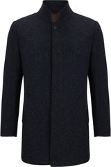 Zac Navy Tweed Wool Coat by Benetti