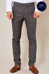 Skinny Fit Grey Check Jenson Trousers