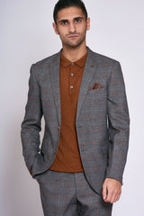 Marc Darcy Jenson Grey Check Tapered Fit Blazer