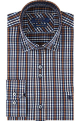 Navy Orange Check Button Down Long Sleeve Jervis Shirt
