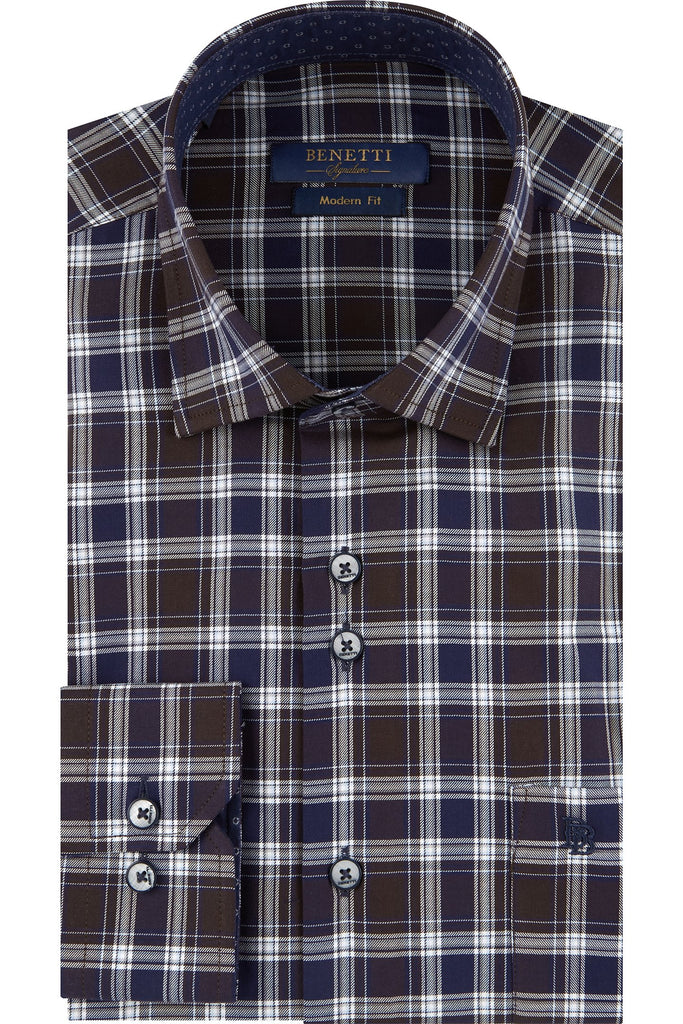 Jules Navy Check Long Sleeve Shirt