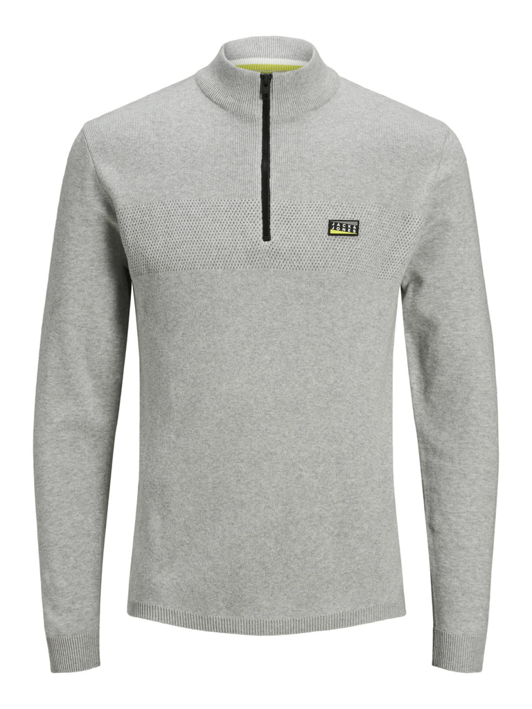 Mood Long Sleeve Light Grey Knit With 1/4 Zip Detail