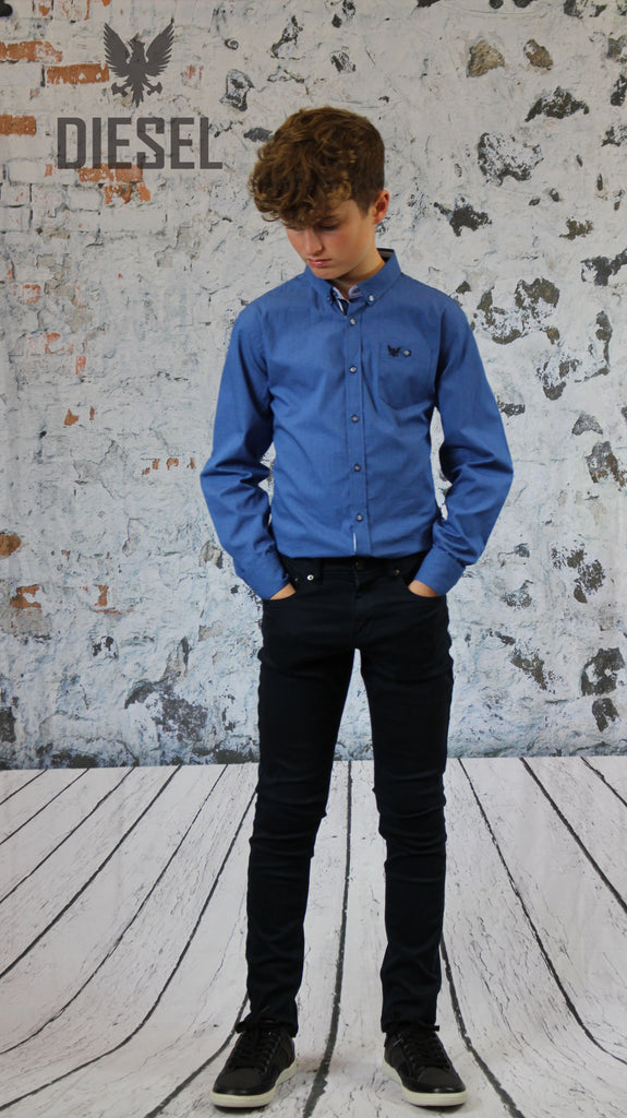 Kell Button Down Shirt by Diesel Youths cobalt