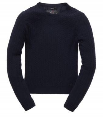 G61006KN Superdry Navy Mini Cable Womens Knit