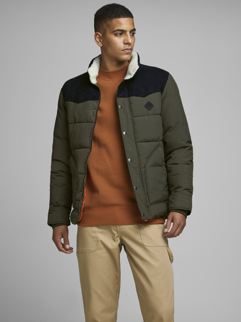 Jack Jones Originals JORLuck Puffer Jacket in forest night
