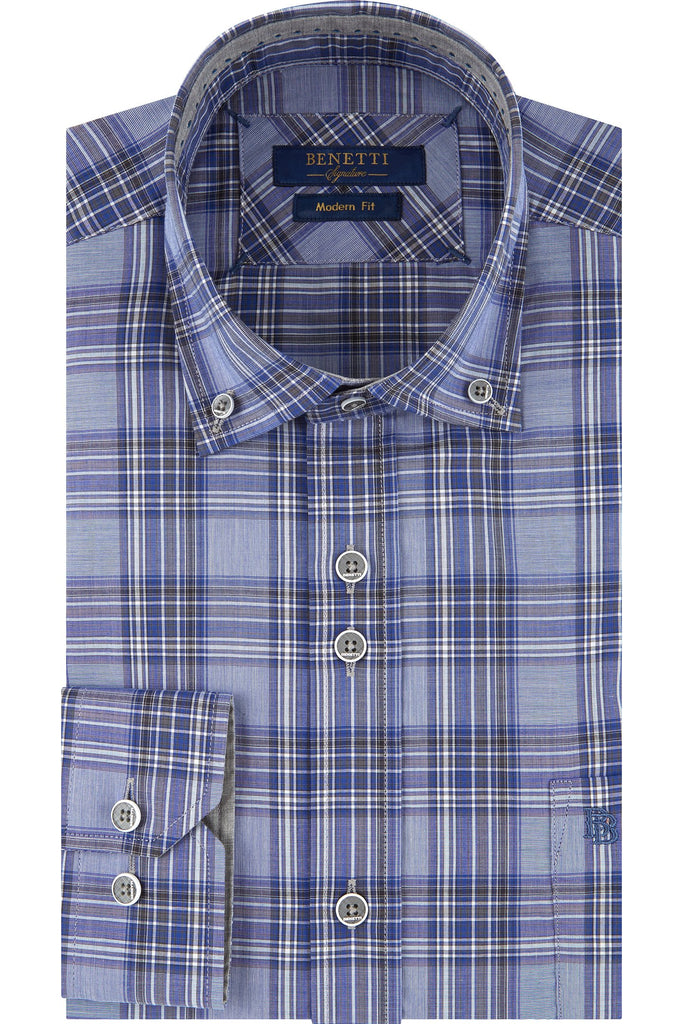 Luther Button Down Navy Blue Check Long Sleeve Shirt