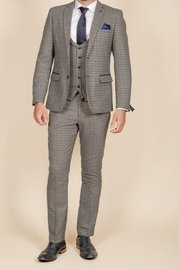 Marc Darcy Hardwick Navy Tan Tweed Check 3 Piece Suit