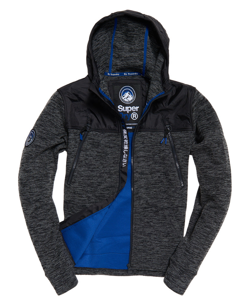 Mountain Zip Hoodie Black Granite Marl by Superdry