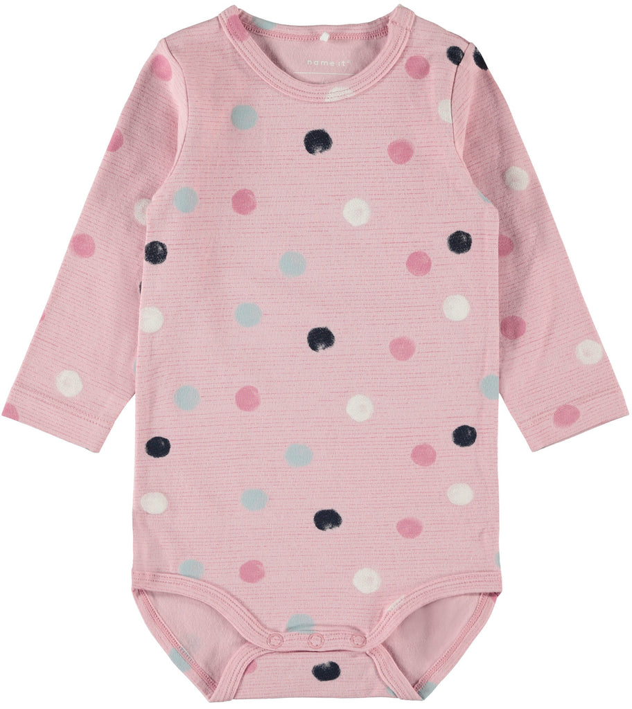 Benitta Long sleeve pink body suit with dot print