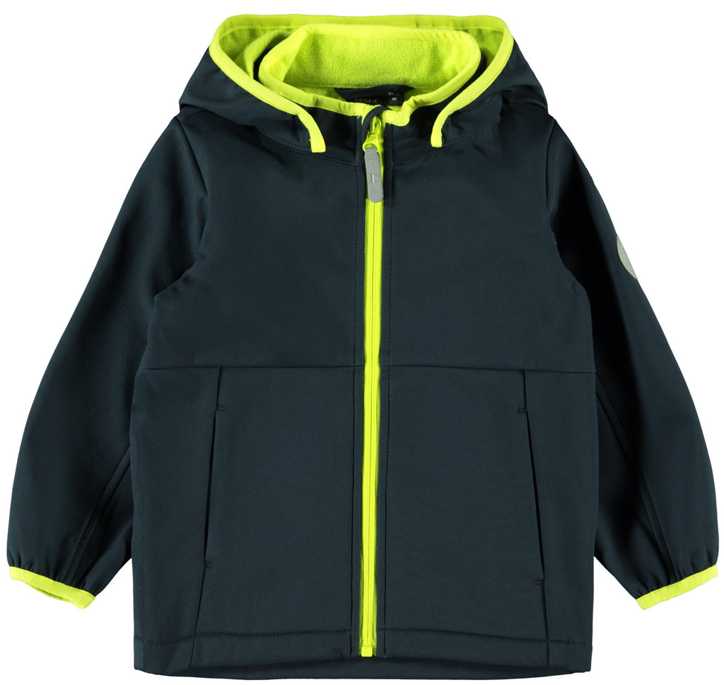Malta Soft shell Navy/Green Mini Boy Hooded Jacket