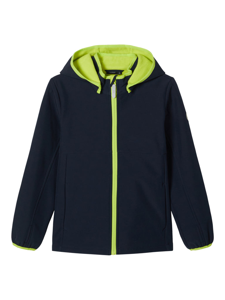 Boys Malta Softshell Navy/Green Hooded Jacket