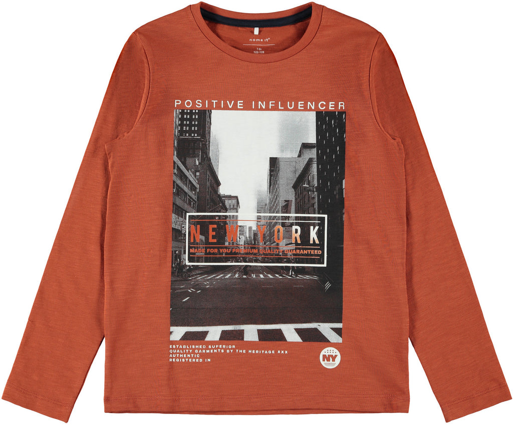 Nustav Long Sleeve Boys Rust Top