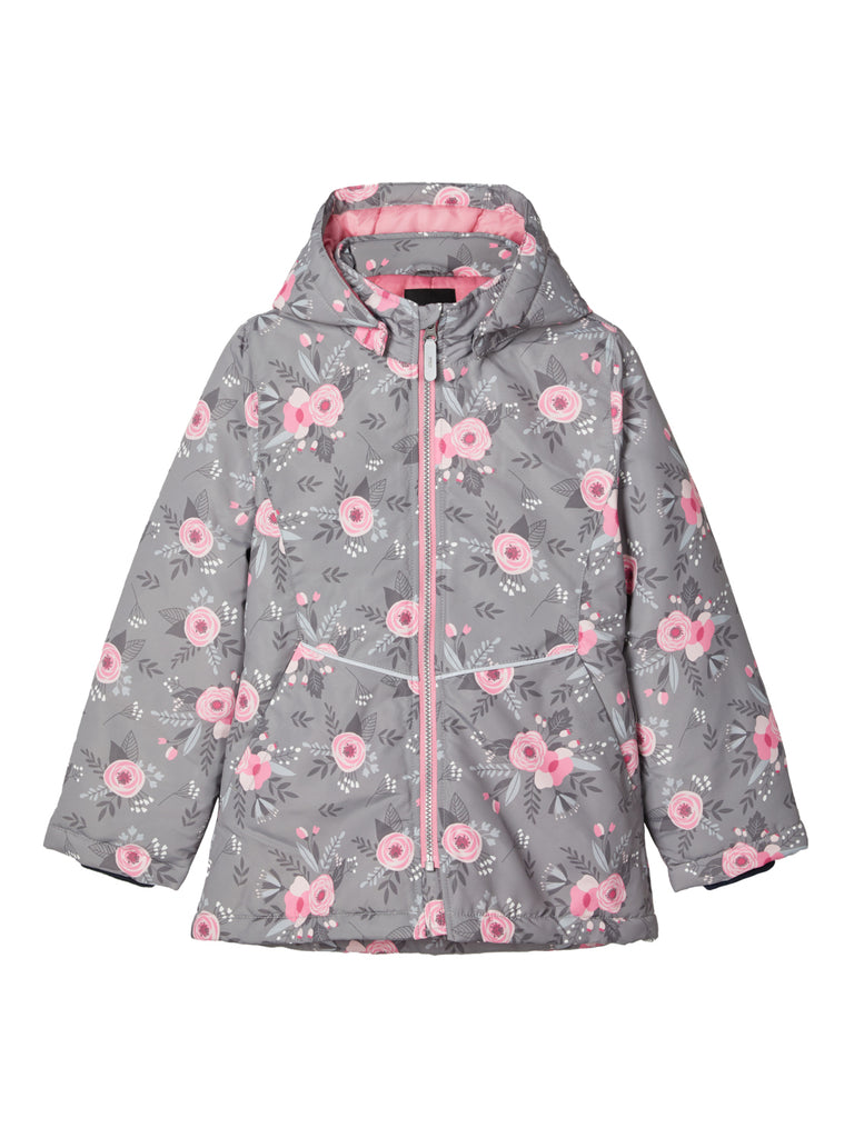 Girls Maxi Jacket Grey Fall Flower by Name It