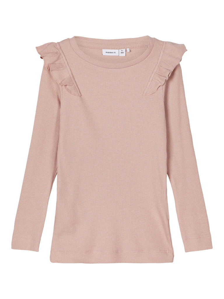 Naije rib rose kid girl t-shirt with long sleeves Frill detail at the shoulders