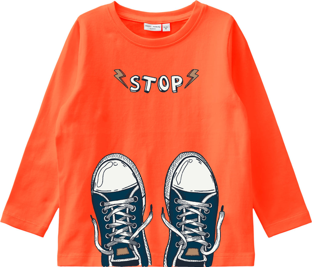 Boys Vux Printed Long-sleeved Orange T-shirt