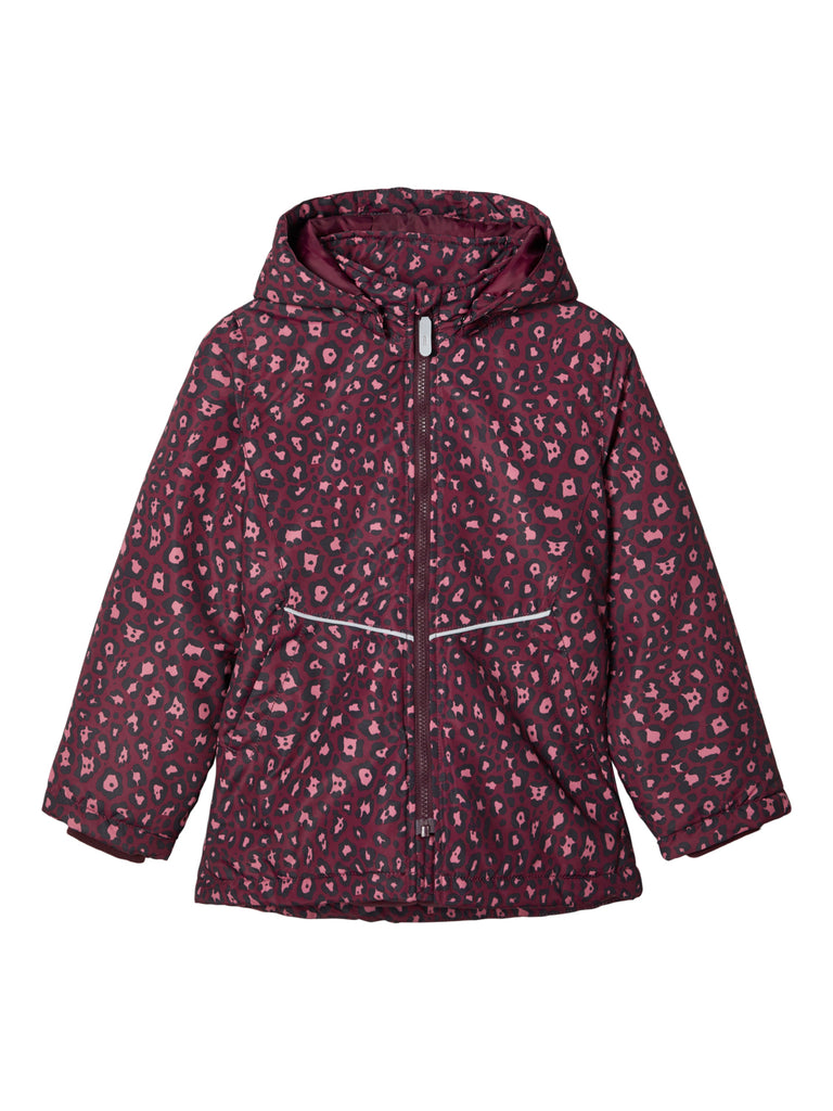 Maxi Leopard Print Wine Girls Hooded Jacket