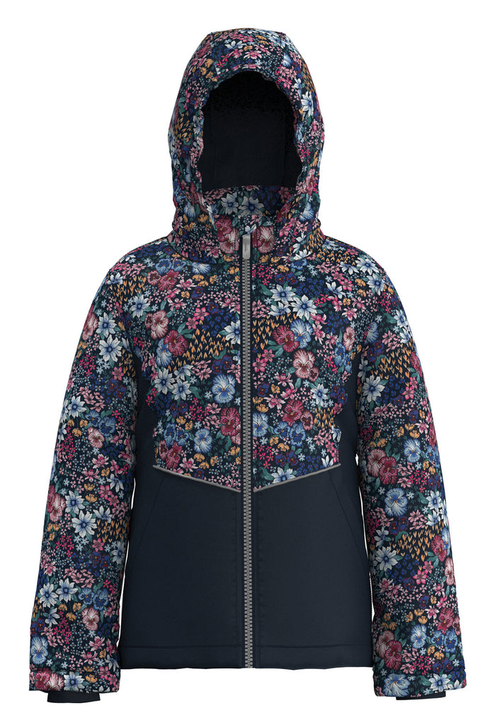 Maxi Flower Block Navy Girls Jacket