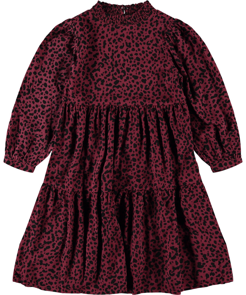 Girls Red Earth Sharlene Tiered Leopard Print Dress