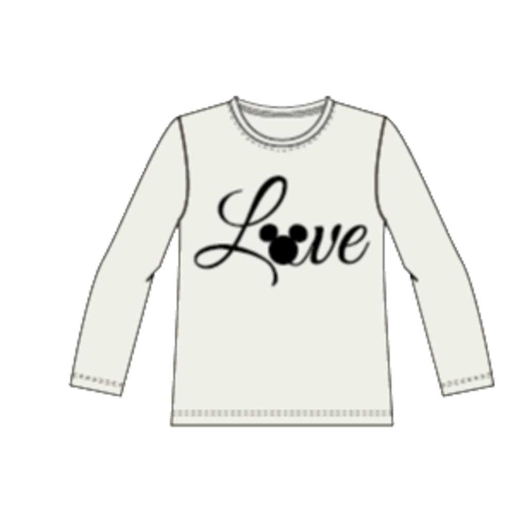 Girls Mickey Iris Long Sleeve White Top