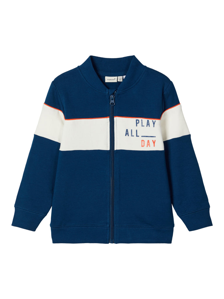Loop Zipped Sweat Blue Boys Cardigan