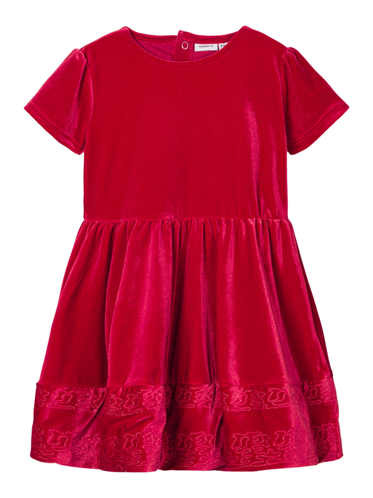 Helouri Velour Short Sleeve Dress red