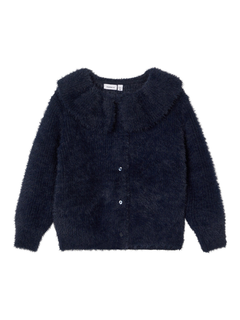 Smilla Long Sleeve Kid Girl Navy Knit Cardigan
