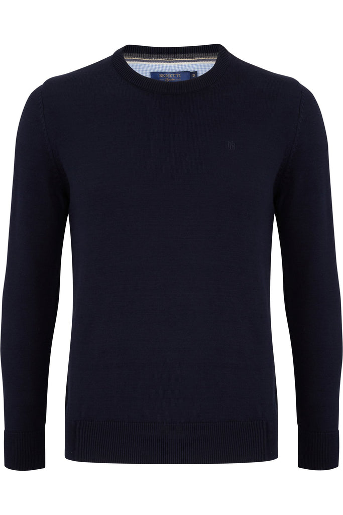 Benetti Crew Neck Navy Jumper