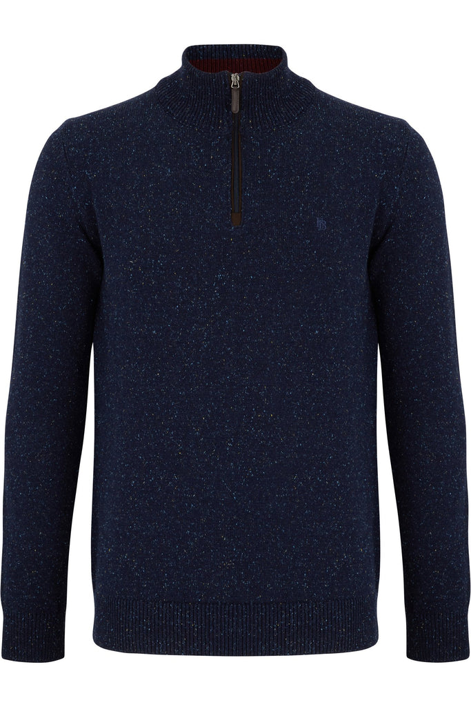 Nope Half Zip Navy Sweater