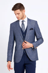 Nigel Navy Check 3 Piece Tapered Fit Suit