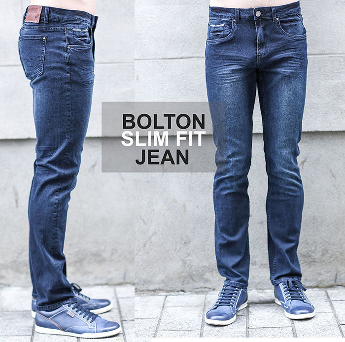Bolton Slim Fit Blue Denim Jean by Outrage
