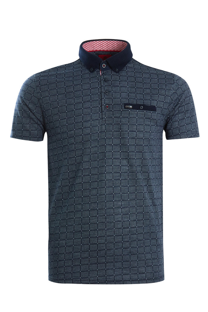 Jaquard Polo Navy Tee PSL216 By Swade