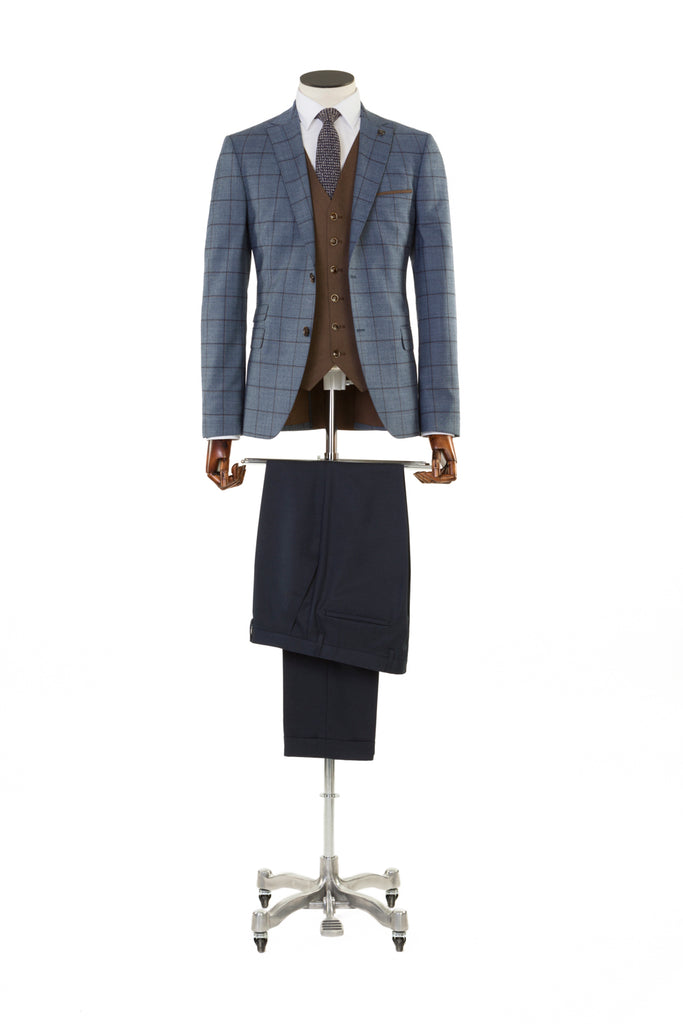 Benetti Pele Blue Check 3 Piece Suit with Brown Waistcoat