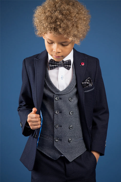 Three Piece Benetti Boys Philip Navy Pattern Suit.