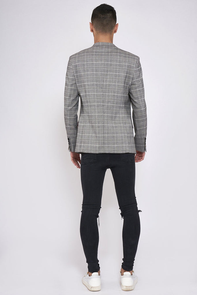 Ross Grey Check Tailored Fit Blazer.