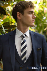 Ronaldo Navy 3 Piece Suit With Fine Pin Stripe