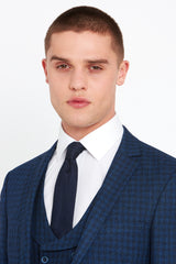 Rufus Navy Blue Check Double Breasted Waistcoat 3 Piece Suit by Travis